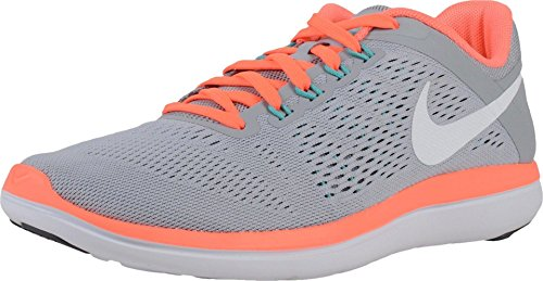 Nike Flex 2016Rn, Chaussures de Running Compétition Femme, UK WOLF GRY DRK GRY BRIGHT MANGO
