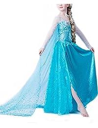 Tante Tina Déguisement Princesse Reine des Neiges - Costume Robe avec Spirale Fille Carnaval Anniversaire Halloween