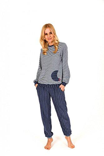 Damen Frottee Pyjama lang mit Bündchen - auch in Übergrössen bis 60/62- 201 93 200, Größe:40/42;Farbe:Ringel jeans (Damen Frottee)