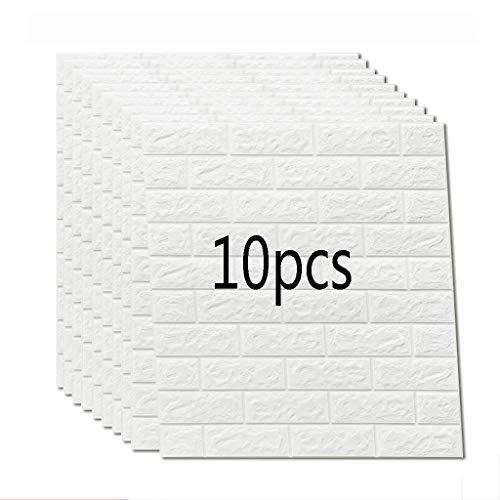 K&F qianzhi Carta da Parati del Mattone Bianco di 10PCS 70X77 Parete 3D del Pannello di Parete 3D Autoadesivi della Parete della Goa Piuma del PE del