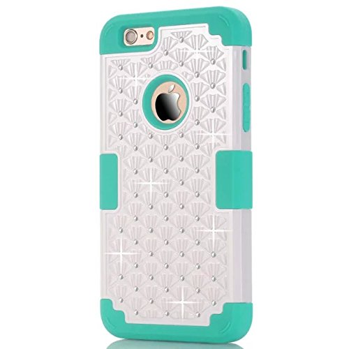 IPhone 6 Case Plus, Lantier 3 en 1 coque en plastique dure avec silicone High Impact antichoc clouté strass cristal Bling Heavy Duty hybride robuste Housse de protection pour IPhone 6 Plus [Rose/Noir] Iphone 6 plus White/Blue