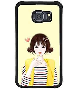 Printvisa Yellow Jacket Cute Girl Back Case Cover for Samsung Galaxy S6 Edge::Samsung Galaxy S6 Edge G925
