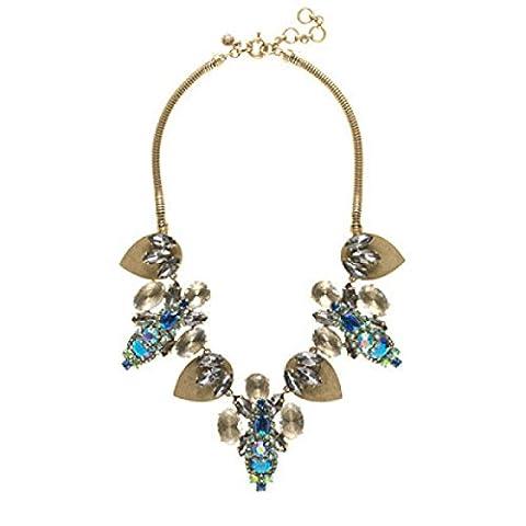 Retro Blue Glass Crystal Opal Short Necklace