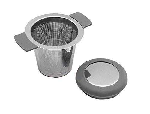 Hippolo Teesieb Teefilter fein Sieb aus Edelstahl mit Doppel-Griff und Abtropfschale/Deckel für Tasse und Kanne (Grau)