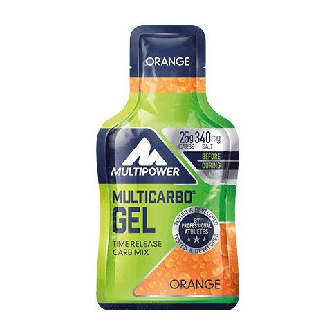 Gel energético MultiCarbo Gel Multipower 12 Geles x 40g Naranja