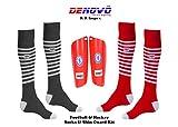 #4: DeNovo Lycra Socks Shin Guard Football & Hockey Kit (2 Pairs Knee Length Socks + 1 Pair Shin Guard)