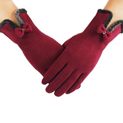 Mamum Frauen Warmer, Weicher Handschuh Handgelenk Handschuh Voll Finger Dicke Handschuhe Touchscreen One Size Rot