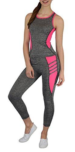 S&LU tolles Damen Sport-, Fitness-, Running-Outfit in angesagten Neon-Farben - Top und Tight als Spar-Set - Größe S-XL (S/M, pink)