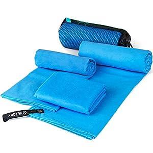 VETOKY Mikrofaser Handtücher, Schnelltrocknend Mikrofaser Handtuch (3 Größen und 2 Farben) Ultra Saugfähig Ultraleicht…