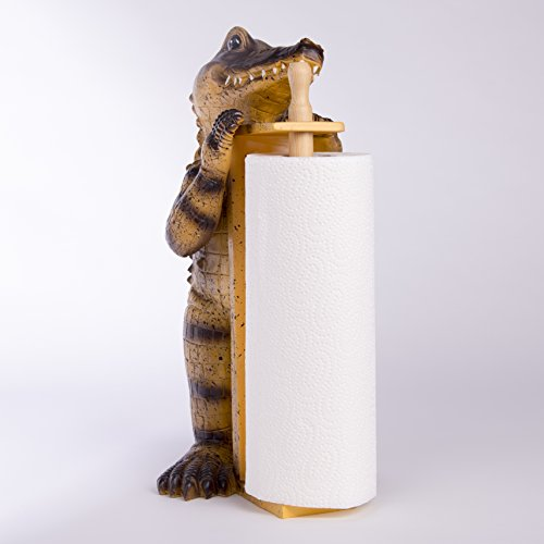Unbekannt Küchenrollenhalter Funny Krok Dekofigur Krokodil Alligator Küchenrollen Spender Krokodil Alligator
