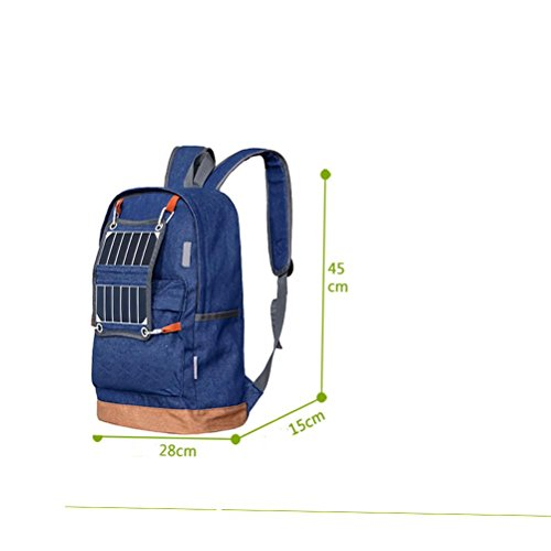 Outdoor Schulter Rucksack Solar LED Indikator Camping Tasche Jeans Sport Reise Paket blue