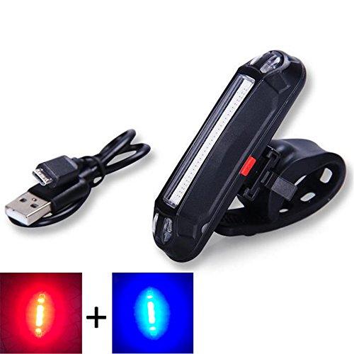 Bike Schwanz Licht USB aufladbare Leistungsstark Super Bright LED Fahrrad Rücklicht Easy installieren rot Licht Helm Rückseite Lampe Rücklicht 6Modi Radfahren Sicherheit Lichter, Rot/Blau