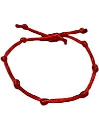keralagr Pulsera cordón Rojo con 7 Nudos. Nudo Ajustable.