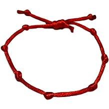 accf4d61426f keralagr Pulsera cordón Rojo con 7 Nudos. Nudo Ajustable.