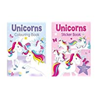 Unicorn Sticker Book and Unicorn Colouring Book - Set of 2 Books