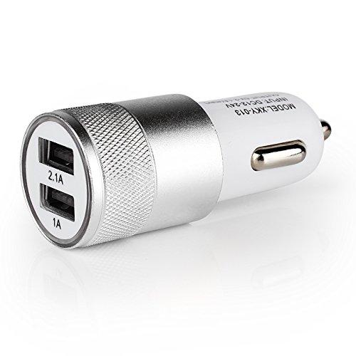 SKS Distribution® Dual Universal USB Auto Ladegerät 2Port Ladekabel Mini Adapter Sockel 2A 2.1A 1A KFZ Styling USB Ladegerät für Auto?Silber (Ipod Sticker Touch)