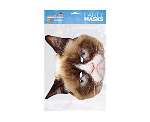 empireposter Tier Maske - Grumpy Cat - Papp Maske aus hochwertigem Glanzkarton mit Augenlöchern, Gummiband - Größe ca. 30x21 cm - Pappmaske, Prominentenmaske, Funmaske, Tiermaske (Grumpy Cat Kostüm)