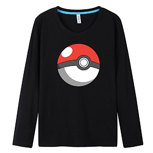 BOMOVO Herren Pokemon Anime Elf-Ball Rundhals Langarm-T-Shirt Langarm Shirt Schwarz