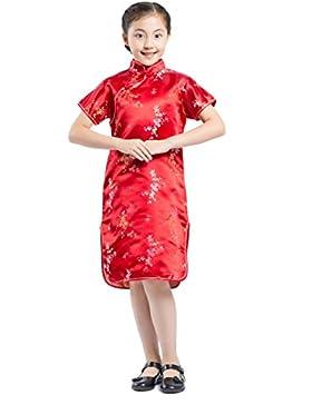 AKAAYUKO Bambini Girls Cheongsam Bambù Di Fiori Di Prugna Cinese Qipao Mini Vestito