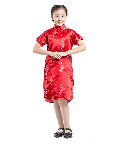 Eigenen Sie Ihre Kostüm Tanz Passen - AKAAYUKO Kinder Mädchen Cheongsam Pflaume Blume Bambus Chinesisches Qipao Minikleid