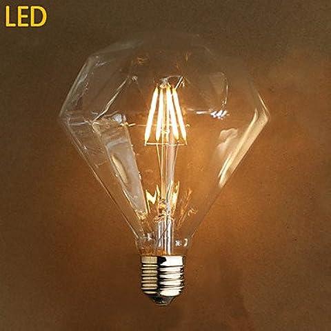 Try e27 4w G125 llevó escena fuente de luz de la lámpara de Edison diamante , 220-240v
