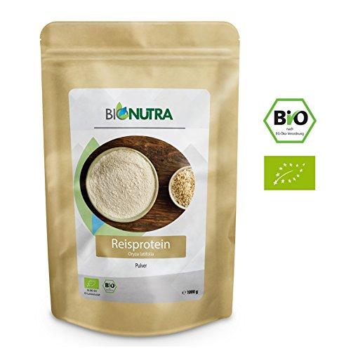 BioNutra Reisprotein Bio 1000 g, 82{a16e7c93d61b91f095c301f5a8b122daa857a20ae2df2b72ddbaa77809e25484} Proteingehalt, extra feines Pulver, veganes Proteinisolat aus kontrolliert biologischer Herstellung