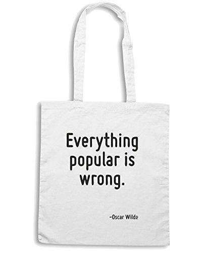 T-Shirtshock - Borsa Shopping CIT0078 Everything popular is wrong. Bianco
