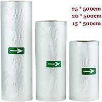 MKISHINE Set de 3 Rollos Bolsas Profesional para la Conservación de Alimentos Protector la Comida para