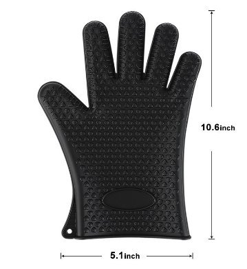Leeg Topflappen – Silikon und Baumwolle Doppelschicht hitzebeständige Handschuhe/Silikon Handschuhe/Ofen Handschuhe/BBQ Handschuhe – perfekt zum Backen und Grillen(Black)