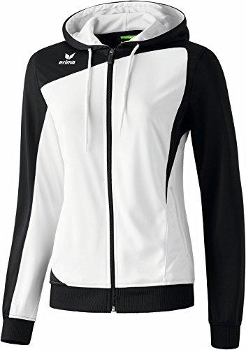 erima Damen Jacke Club 1900 Trainingsjacke mit Kapuze, Weiß/Schwarz, 38, 107454