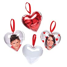 Baker Ross Heart Photo Baubles (Pack of 4) For Kids to Personalise, Decorate, Display or Gift For Mothers Day/Valentines Day
