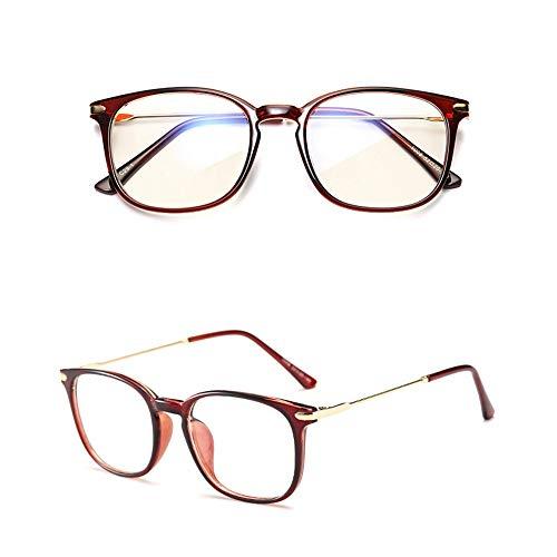 Yiph-Sunglass Sonnenbrillen Mode Premium-Computer-Lesebrille Blau Reinigen und Blendung Keine Vergrößerung Brille Sogar Größe Anti-Eyestrain-Brille für Männer und Frauen (Farbe : Red Tea)