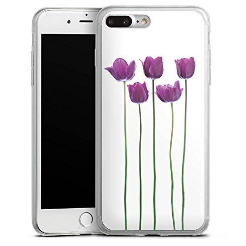Apple iPhone 8 Plus Slim Case Silikon Hülle Schutzhülle Tulpen Lila Blumen Silikon Slim Case transparent