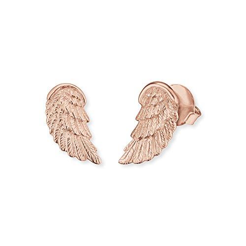 Engelsrufer Engelsflügel Ohrstecker für Damen 925er-Sterlingsilber rosévergoldet 17,5 mm