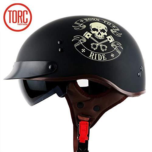 TORC Motorrad Offener Halbhelm mit Brille Vintage Jet Harley Helm Cruiser Helm DOT-zertifiziertes Motorrad Skull Style (Mattschwarz),XL59~60cm