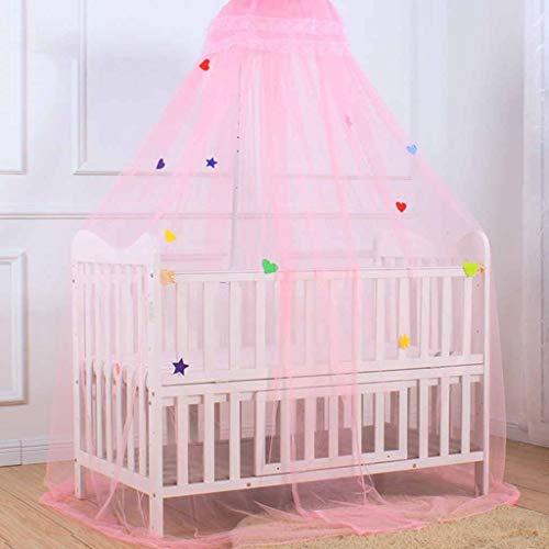MXK Runde Spitze Vorhang Dome Bettschirm Net Prinzessin Moskitonetz Bettdecke Dekoration, Verträumte Sterne Verschönerung Für Kinderbett (Color : Pink)