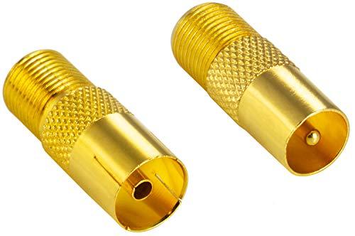 ter Koax Antenne (F-Buchse, 1x auf IEC Antennenstecker, 1x auf Antennenbuchse), Coax Kupplung für Koaxialkabel - Antennenkabel, vergoldet ()