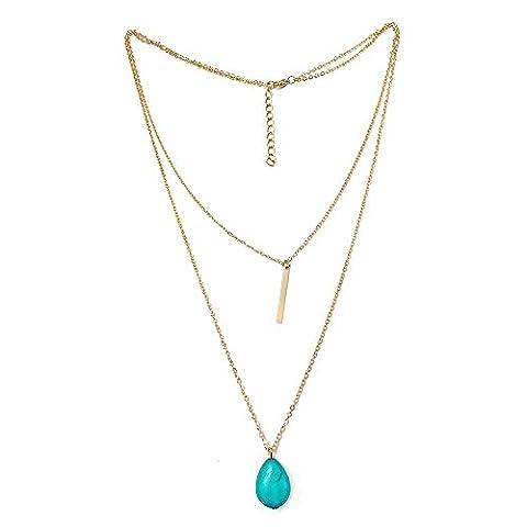 BODYA Stunning Double Layering Lariat Gold Choker Necklace 24