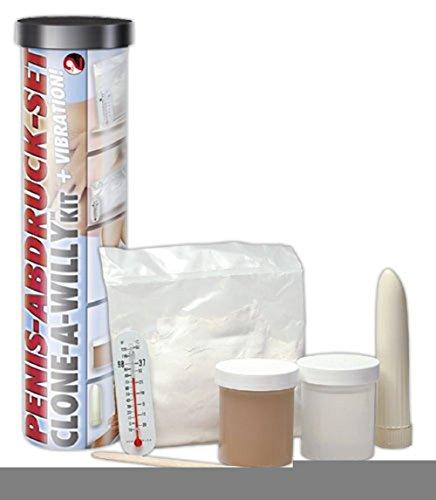 Selbstbauvibrator Mit diesem Penis-Abdruck-Set verewigen Sie Ihren Penis in seiner schönsten Form! So einen individuellen Vibrator gibt es dann nur einmal auf der Welt. Penis-Abdruck-Set bestehend aus: Gussform Abgusspulver Thermometer flüssiger Gummi (transparent) Liquid Skin (dunkel) Rührstab Vibrator und ausführliche Gebrauchsanweisung. Alle Materialien sind latexfrei, dermatologisch getestet und allergenfrei. Der fertige Abdruck-Vibrator kann zusammen mit jedem Gleitmittel verwendet werden. (Bitte Batterie extra bestellen: 1 x Mignon). / sehr gutes Sexspielzeug / sehr guter Vibrator / Vibe / sehr gute Lovetoys für Frauen / Sexspielzeug für Männer / Vibratoren zum selber machen / eigener Vibrator / Erotikspielzeug für Frauen