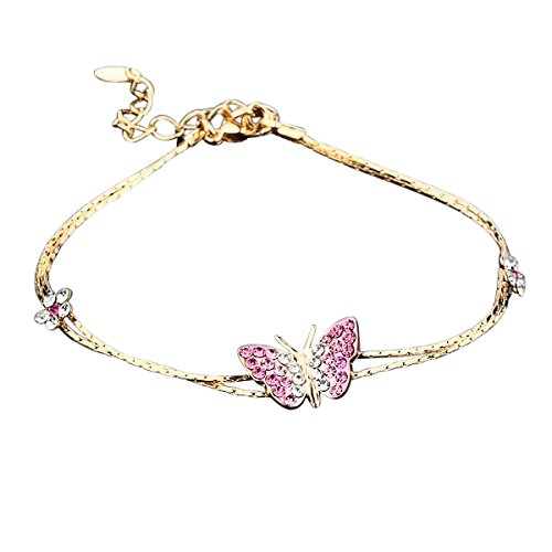 Veuer Armband Schmetterling Blumen Vergoldet Rosa Strass-Steine Schmuck für Damen Geschenk zu Weihnachten für die Frau/Freundin/Frauen