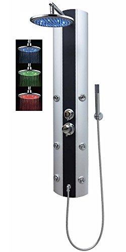 LED Duschpaneel Duschsäule Massagedüsen mit Armatur Regendusche Dusche Duscharmatur Handbrause Duschbrause Silber Schwarz