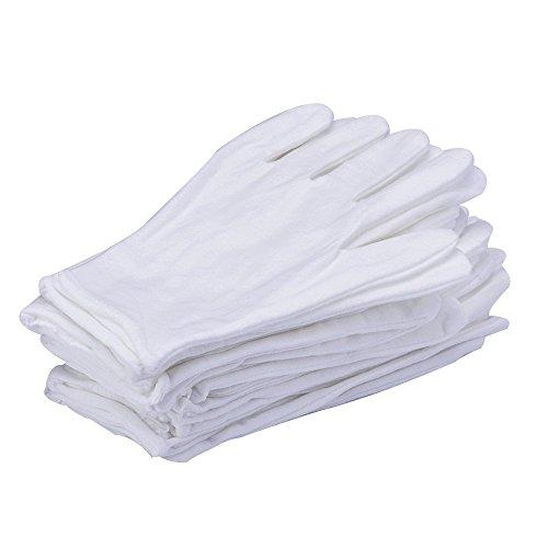 24 Stück/12 Paar 8.27 Zoll Weiß Baumwolle Handschuhe Arbeitshandschuhe One Size