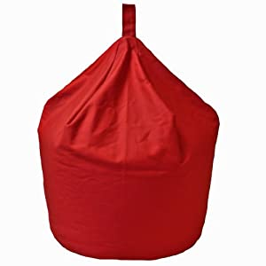6 CUFT Large Adult Kids Red Cotton Chair Seat Beanbag Bean Bag with Beans
