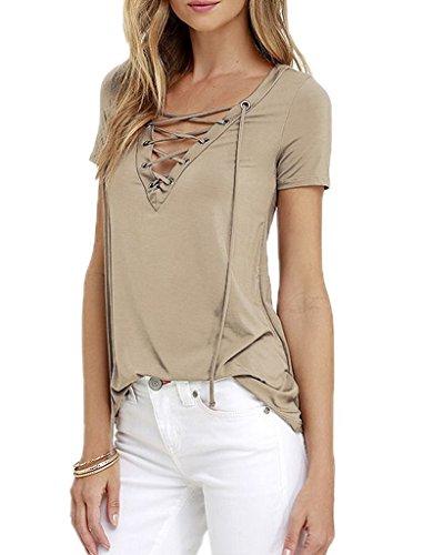 Bigood Femme T-shirt Manches Courtes Blouse Chemise Mode Uni Kaki