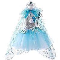JJAIR Traje de Reina de Las Nieves de Vestir, Viste Princesa de Lentejuelas con Accesorios Fiesta de Navidad de cumpleaños con Capa,110