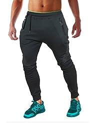 FLYFIREFLY Pantalones De Jogging Para hombres - Chándal De Fitness Con Bolsillo Delantero Y Trasero Deportivo - Negro Y Gris Para Deporte - Talla L Y Color Negro