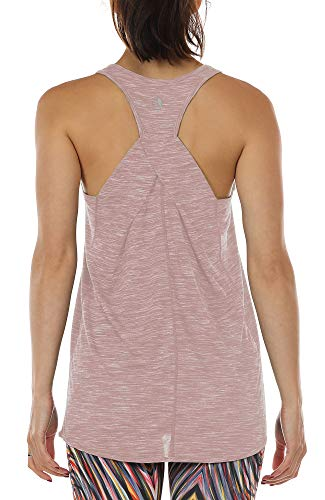 Yoga-tank-top Shirt (icyzone Damen Yoga Fitness Tank Top Lang - Training Jogging Ärmelloses Shirt Sport Oberteil Tops (M, Cameo Brown))