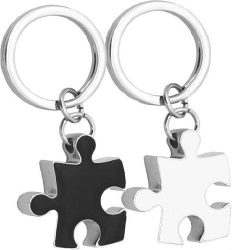 Madelcar - paquete de 2 anillos, blanco/negro pieza del rompecabezas