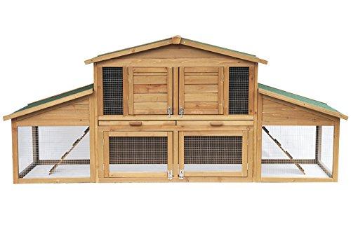Woltu ht2004 conigliera gabbia per conigli animali ricovero pollaio casa con tetto piano in legno abete giardino esterno