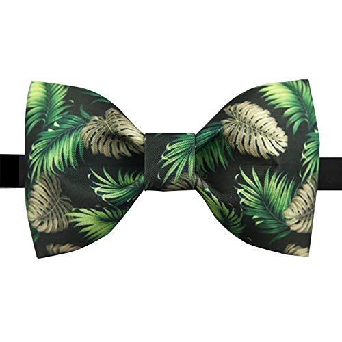 Keliour Der vorgebundene Bogen der Männer Herren verstellbare Klassische Smoking Seide handgefertigte Palm Tree Print Fliege Krawatten für ()